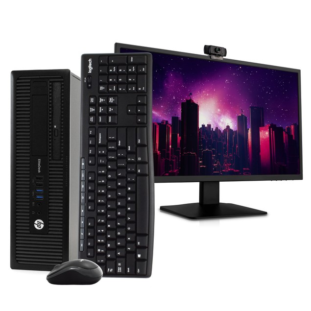 "HP 800G1 Desktop Intel i5 16GB 512GB SSD Windows 10 Professional 24"" Monito"