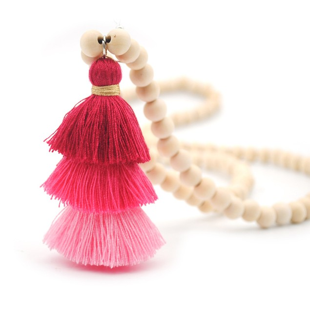 Color Three-Layer Rope Tassels Women's Long Sweater Chain
