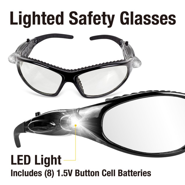 TradesPro Safety Protective Glasses Goggles with LED Lights