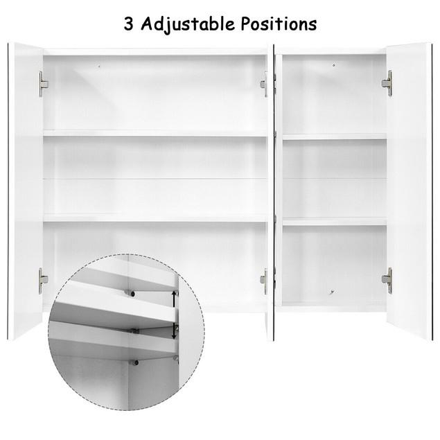 "36"" Wide Wall Mount Mirrored Bathroom Medicine Cabinet Triple Mirror Door"