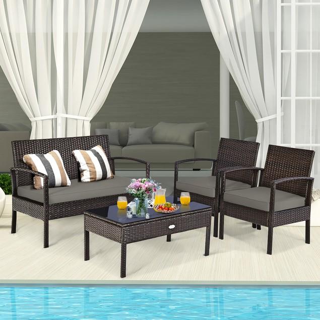 Costway 4 PCS Patio Rattan Wicker Furniture Set