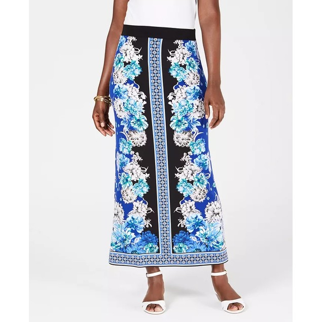 JM Collection Women's Printed Maxi Skirt Black Size Large