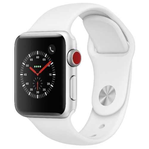 Apple Watch Series 3 38mm GPS Cellular Aluminum Silver Case with White Sport Band - MQJN2LL/A