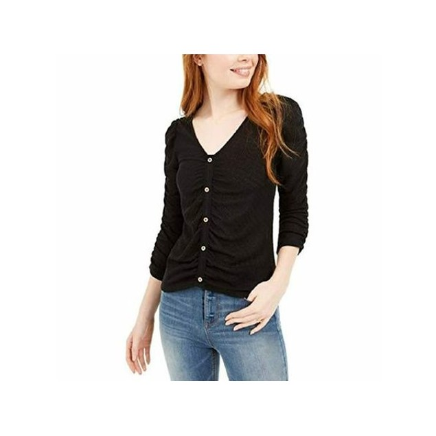 Crave Fame Juniors' Ruched Textured Top Black Size Large