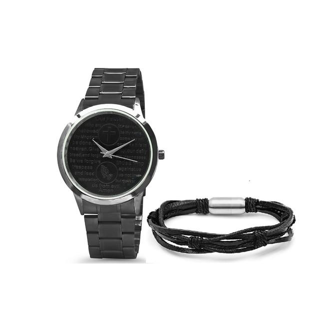 Bracelet & Watch Set W/ Black Woven Leather Bracelet