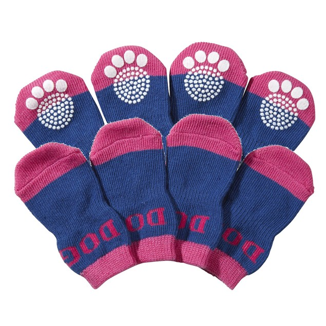 Pet Socks W/ Rubberized Micro Grips - Set of 4