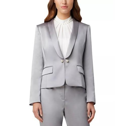 Tahari Asl Women's Faux-Pearl-Trim Jacket Gray Size 4