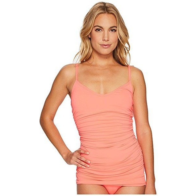 Vince Camuto Women's Fiji Solids Shirred Swimdress One-Piece Pop Coral 6