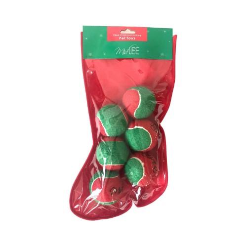 Midlee Filled Dog Stocking Christmas Tennis Balls - 6 Pack