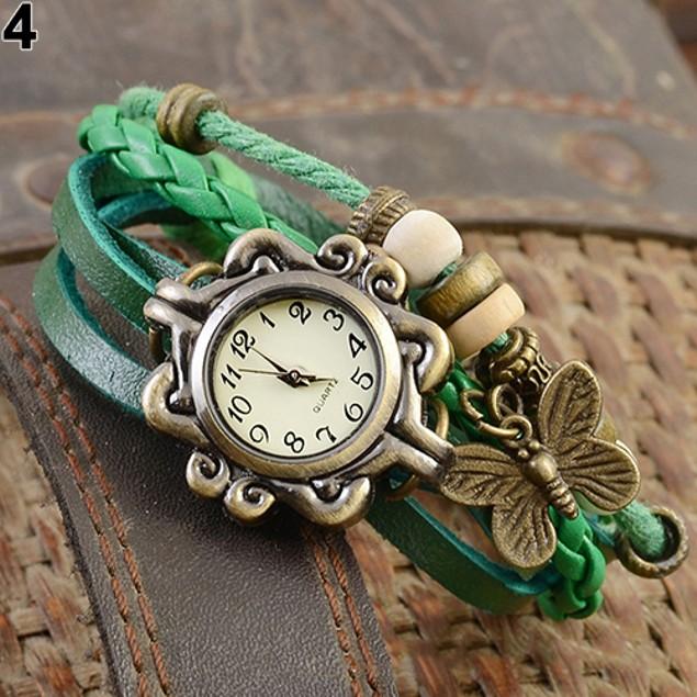 Vintage Multilayer Butterfly Faux Leather Bracelet Wrist Watch