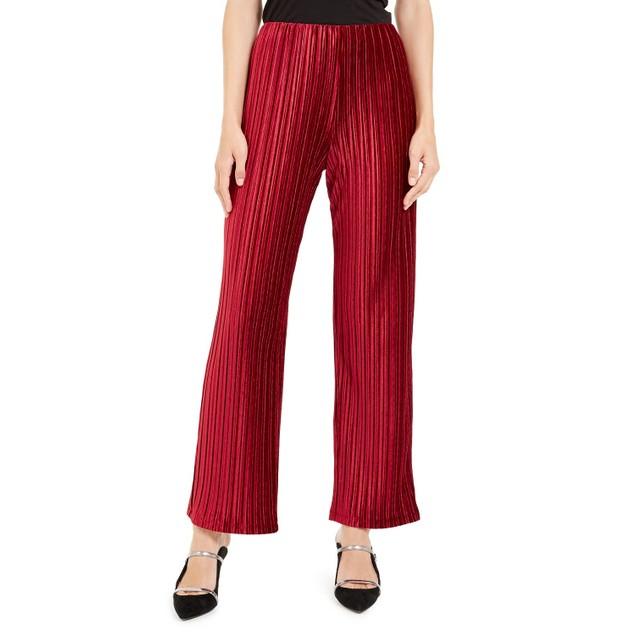 Alfani Women's Pull-On Velvet Wide-Leg Pants Wine Size Extra Large