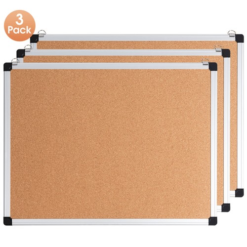 Costway 3 Pack Cork Bulletin Board 24'' x 18'' Wall Mounted Notice Board w/