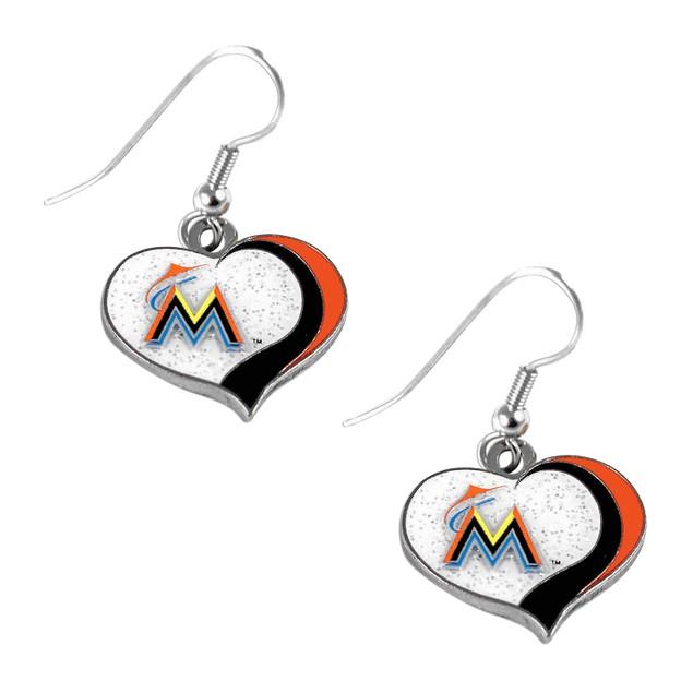 Miami Marlins MLB Glitter Heart Earring Swirl Charm Set