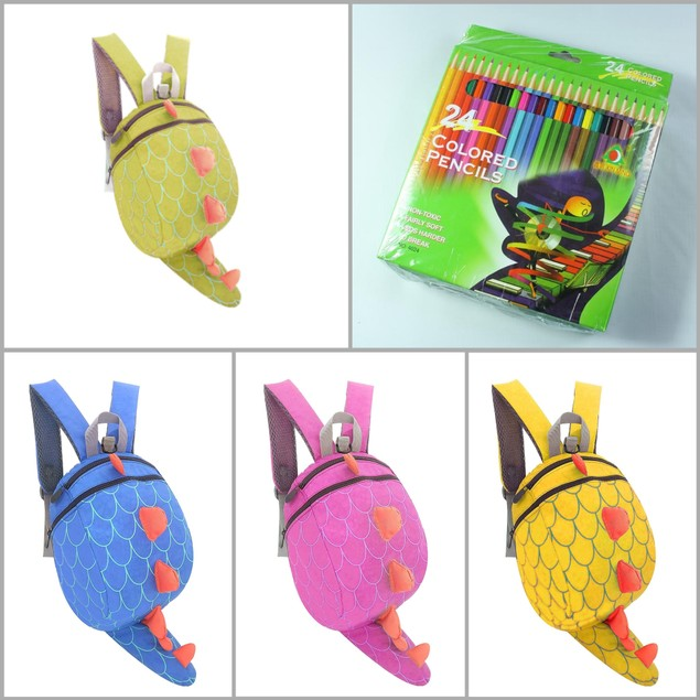 Dinosaur Backpack and 24-Piece Colored Pencil Bundle
