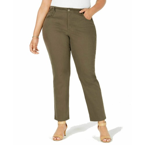 Style & Co Women's Plus Size Tummy-Control Slim-Leg Jeans Olive Size 24W