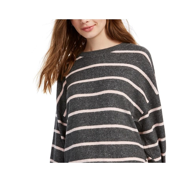 Gypsies & Moondust Juniors' Cozy Striped Dolman-Sleeve Top Gray Size Large