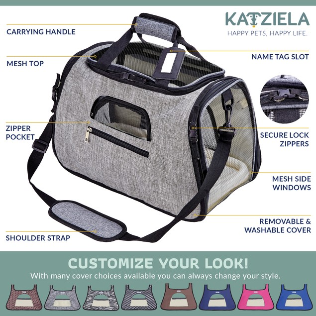 Katziela Pet Carrier with Replaceable Skin Covers