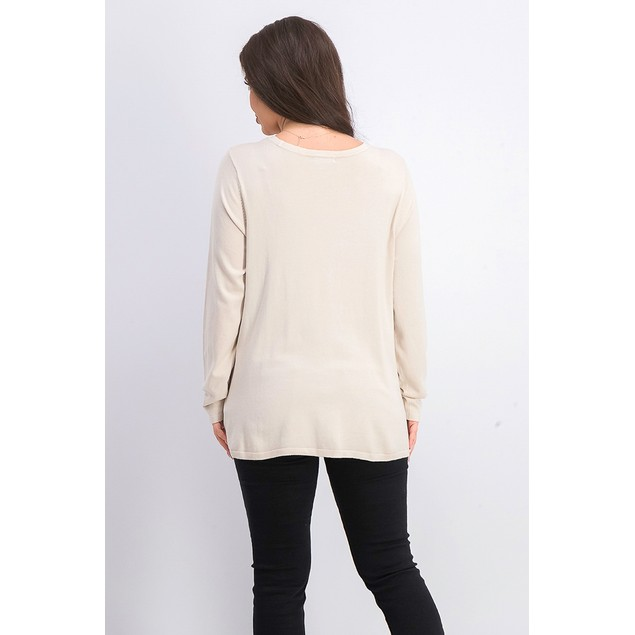 Alfani Women's Hardware Seamed Sweater Beige Size XX Large