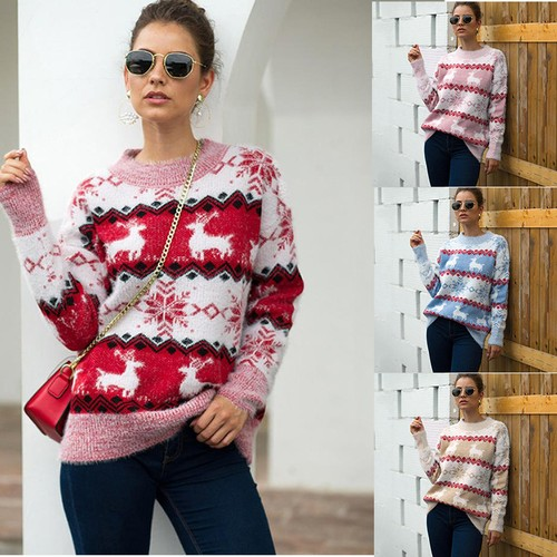Female Snowflake Fawn Pullover Sweater