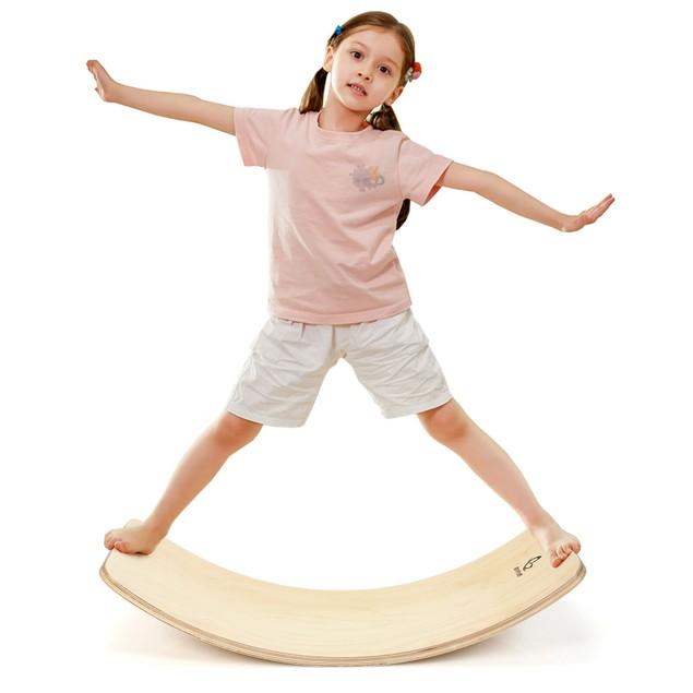Goplus  Wooden Wobble Balance Board Kids 35'' Rocker Yoga Curvy Board Toy w