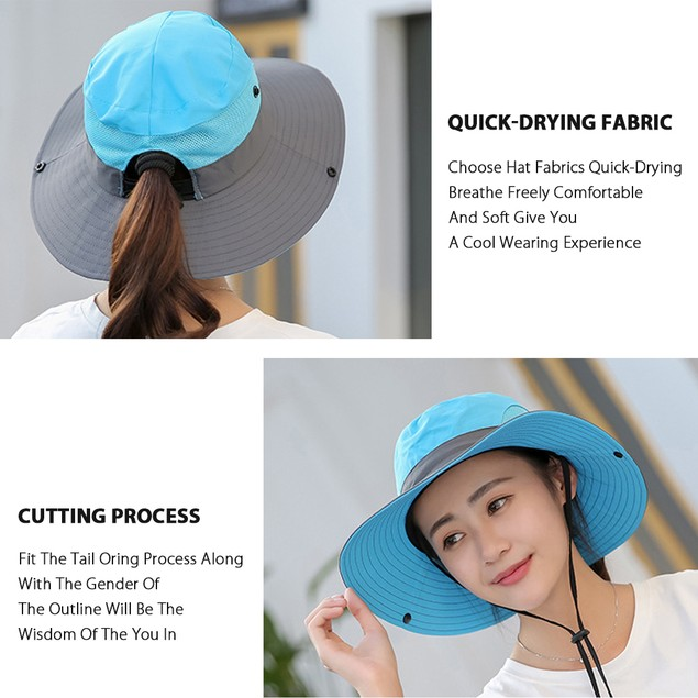 Women's Ponytail Cotton Sun Protection Hat