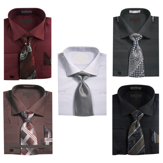 Men's Micro Dots Dress Shirt w Tie Hanky Cufflinks