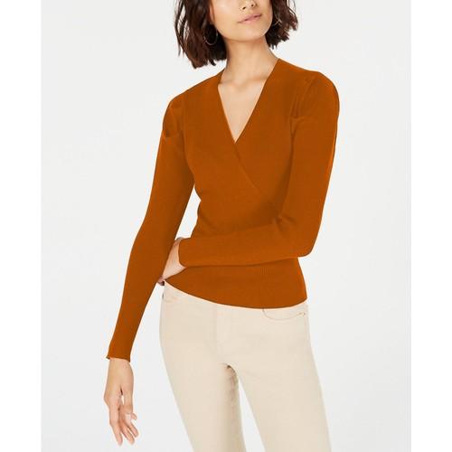 Lucy Paris Women's Puffed-Shoulder Surplice Sweater Orange Size Medium