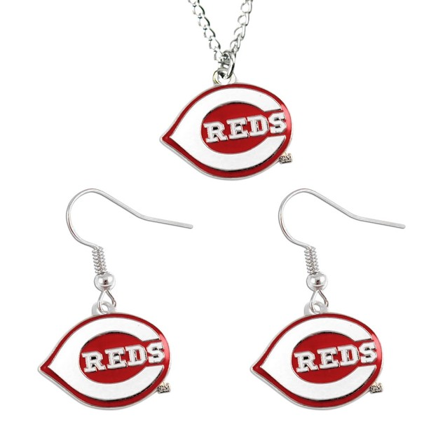 Cincinnati Reds Necklace and Dangle Earring Set MLB Charm Gift