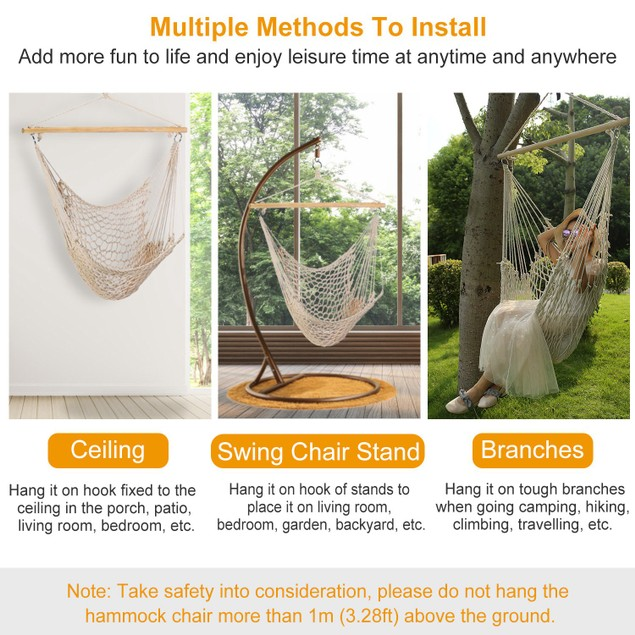 Hammock Chair Hanging Rope Seat Swing w/ Wooden Stick 220lbs Load