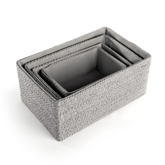 Paper and Cotton Makeup Closet Storage Boxes - Set of 4   MandW Grey