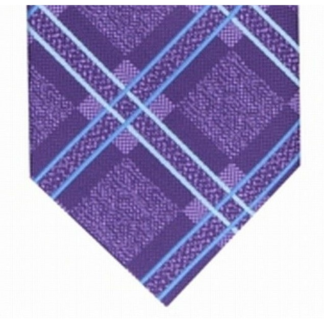 Perry Ellis Men's Denner Classic Plaid Tie Purple Size Regular