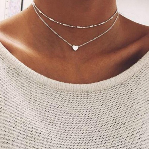 Peach Heart Multilayer Clavicle Necklace