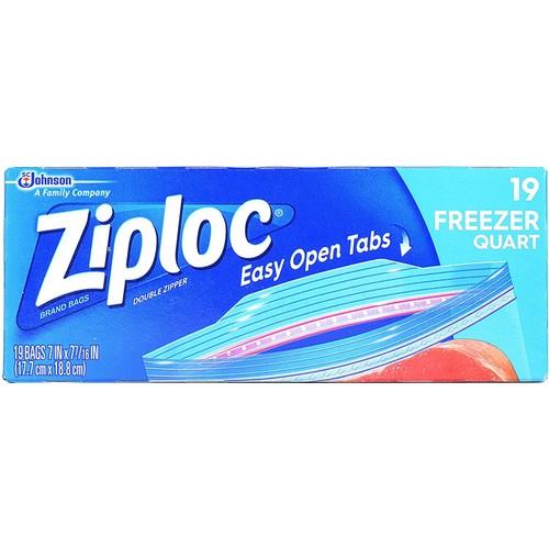 Ziploc Double Zipper Easy Open Tabs Extra Thick Layer Freezer Bags, 19 Ct