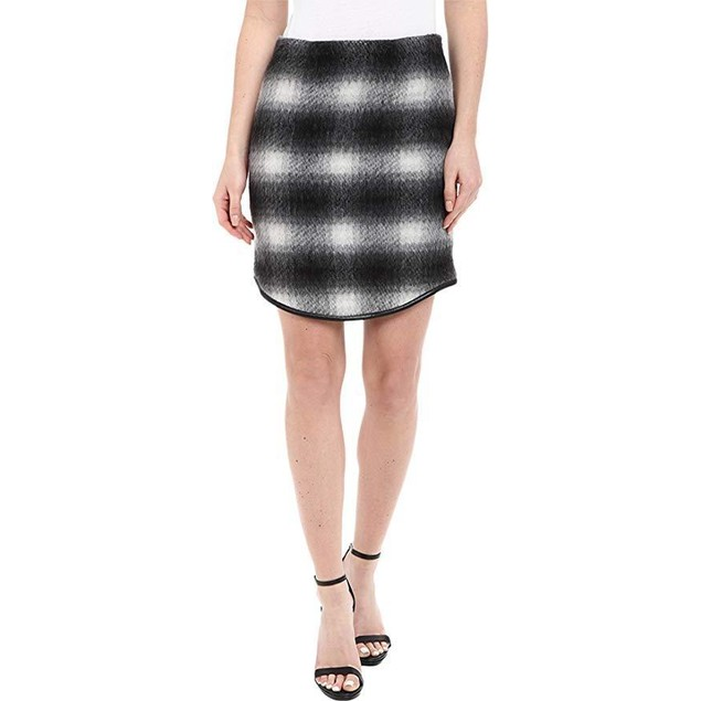 Karen Kane Women's Plaid Curved Hem Skirt Black/Gray Skirt XS