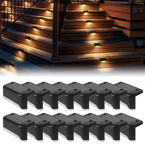 16-Pack Solar Deck Lights Outdoor Waterproof Step Lights Fence Stairs Yard