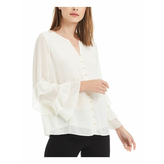 Alfani Wo Petite Embellished Bell Sleeve Button Up Top White Petite