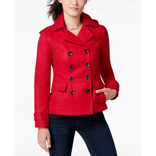 Celebrity Pink Juniors' Double-Breasted Hooded Peacoat Red Size Small