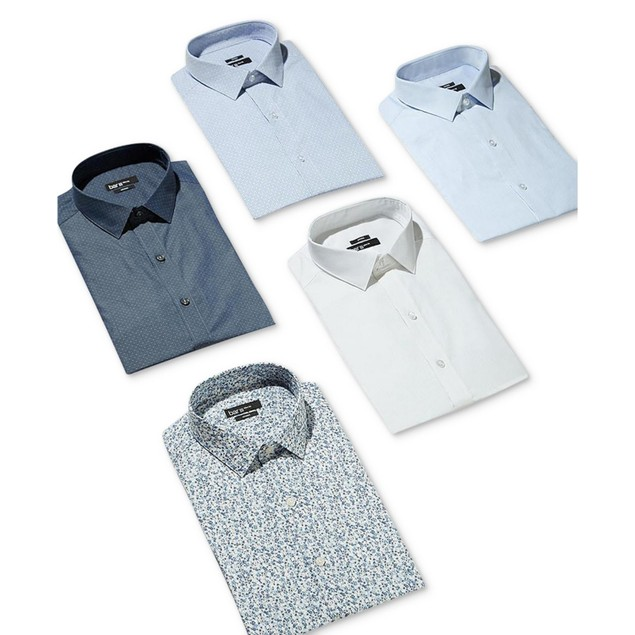 Bar III Men's Slim-Fit Stretch Dress Shirt Blue Size 16-32-22