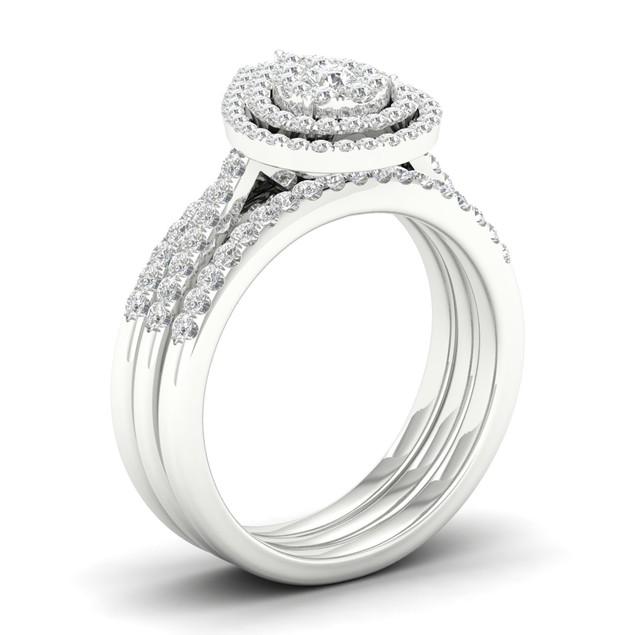 De Couer S925 Sterling Silver 5/8ct TDW Diamond Cluster Bridal Set I-J,I2