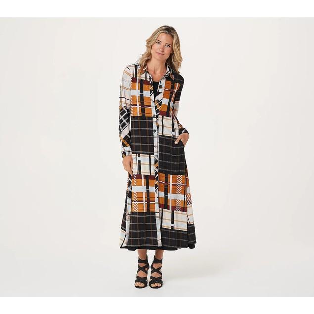 Attitudes by Renee Regular Duster & Sleeveless Maxi Dress Set, Med,