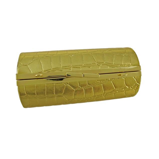 Glossy Mock Croc Textured Barrel Shaped Mini Womens Clutch Handbags