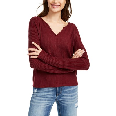 Planet Gold Juniors' Super Soft Ribbed Top Red Size Medium