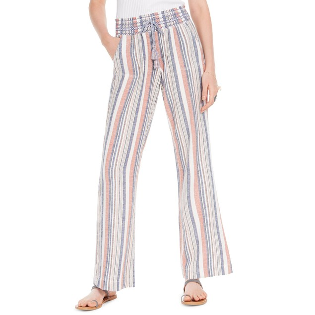 Rewash Juniors' Striped Smocked-Waist Soft Pants Multi Size Large