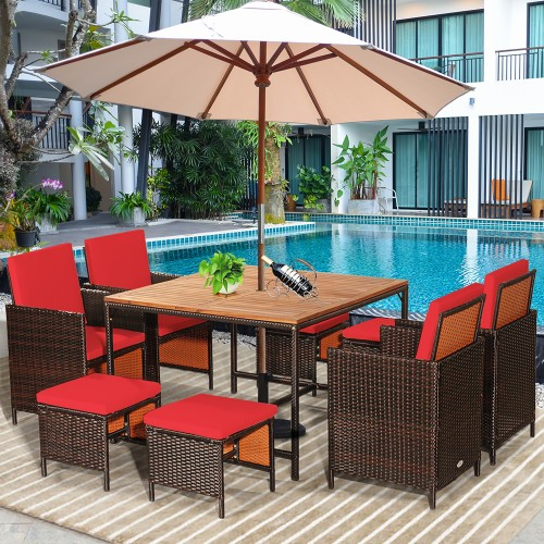 Costway 9PCS Rattan Patio Dining Set With Wood Table