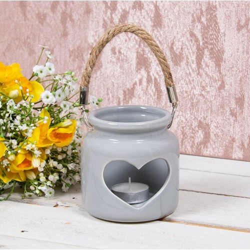 Heart Ceramic Candle Holder Grey 10Cm By Lesser and Pavey