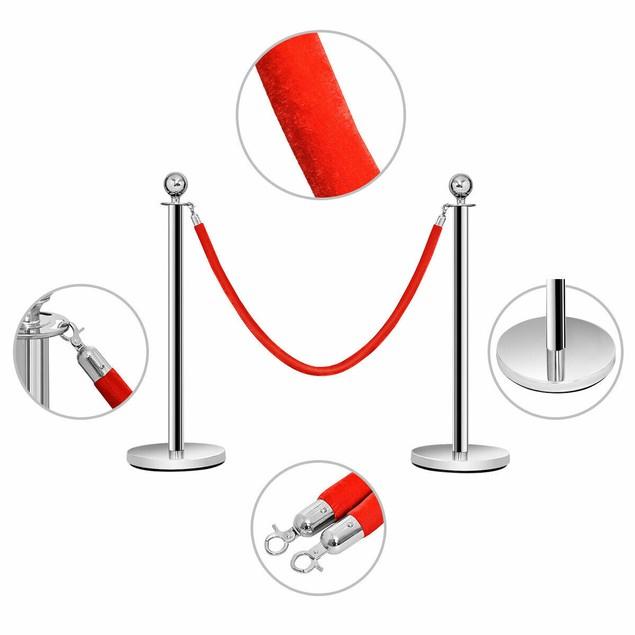 Costway 6Pcs Stanchion Posts Queue Pole Retractable 3 Velvet Ropes Crowd Co
