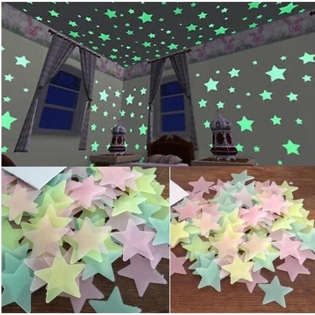 100Pcs Children's Home Decoration Color Star Fluorescent Wall Sticker