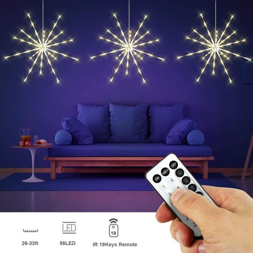 IP44 Waterproof LED String Lights Hanging Starburst Lights - 1 Pack