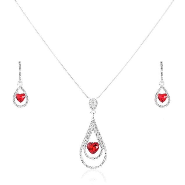 Novadab Valentine Water Drop Heart Necklace Set