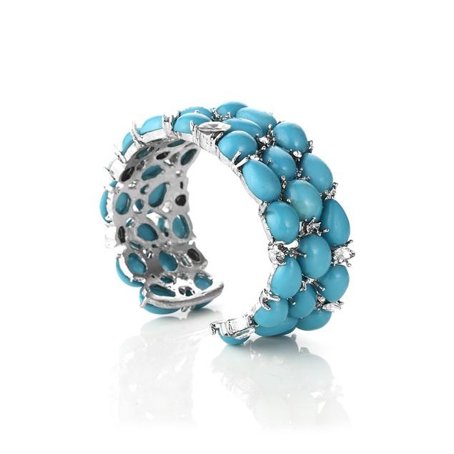 Novadab Cerulean Crystal-Cluttered Pattern Expansive Bracelets For Women